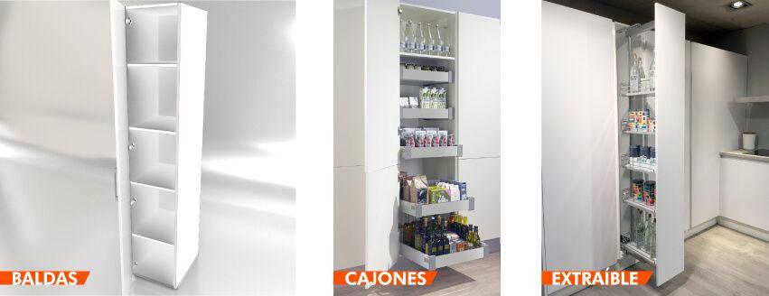 los armarios tipo columna aprovechan toda la altura de la cocina y esto proporciona una gran capacidad de almacenaje con la misma profundidad que el mueble