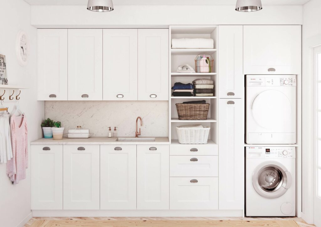 Mueble columna lavadora secadora great chalet dormitorios for Mueble lavadora secadora